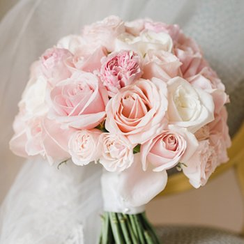 Bridal handtied bouquet of blush pink roses